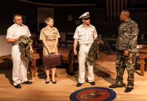 "From left: Bobby Marusiefski, Kristin Barber, Dave Duncan and Carmen Balentine in ""A Few Good Men"""