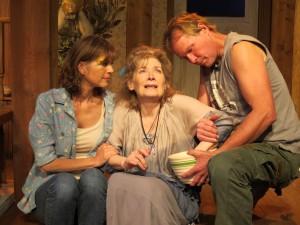 "Dana Benningfield, left, Maureen Silliman and David Van Pelt as the ""Angels..."" siblings. (Photo: SuzAnne Barabas) siblings:"