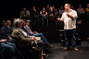 "Jonny Donahoe interacts with his ""Every Brilliant Thing"" audience"