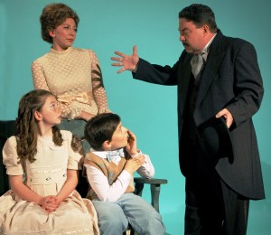 Bob Brown & Patricia Delesky as Mr. and Mrs. Banks, with Taylor Carpinello & Jack Sweeney as Jane and Michael (Photo: Tom Martini)
