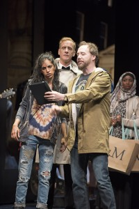 Harveen Sandhu as Eliza (before) with Jeff Meadows (Pickering, rear) and Patrick McManus (Henry Higgins) (Photos: Emily Cooper