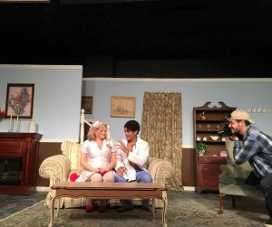 "The money shot: Gina Shuster and Ankit Sharma being filmed by Dave Duncan in ""Skin Flick"""