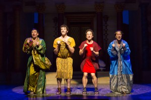 "From left, David Josefsberg, Michael Urie, Christopher Fitzgerald, Kevin Isola: ""Everybody Ought to Have a Maid"""