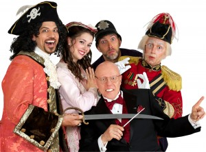 From left: David Wannen as Pirate King, Sarah Caldwell Smith (Mabel), David Auxier (Police Sgt., Lames Mills (Major-General) and, front, Albert Bergeret (director/conductor). (Photo: William Reynolds)
