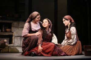From left, Tevye's daughters Chava (Melanie Moore), Tzeitel (Alexandra Silber) and Hodel (Samantha Massell)