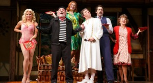 From left: Megan Hilty (with discreet sardines), Daniel Davis, Kate Jennings Grant, Jeremy Shamos, David Furr and Andrea Martin (Photo: Joan Marcus)