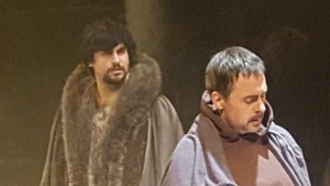 Anthony Younes, left, as King Henry II and Eric Rolland as Thomas Becket