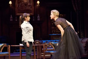"Mrs. Warren (Nicole Underhay) confronts her daughter Vivie (Jennifer Dzialoszynski) in Shaw's ""Mrs. Warren's Profession"""